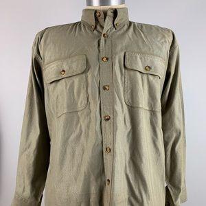 Orvis Mens Button Front Shirt Long Sleeve Green XL